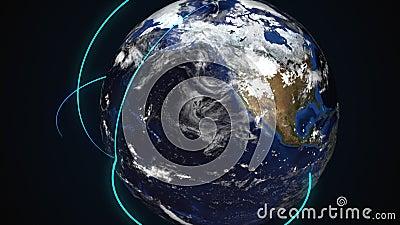 Conexión de la Tierra generada por computadora en el espacio ultraterrestre Cierre de un planeta giratorio con vigas de neón cone almacen de metraje de vídeo