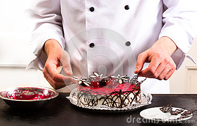 Confectioner and a cake