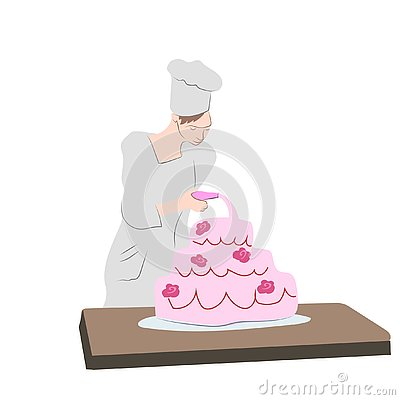 Confectioner is cooking Vector Illustration