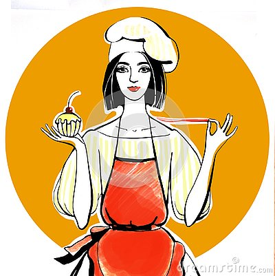Confectioner girl in chef hat and red apron with cupcake in hand Cartoon Illustration