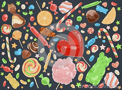 Confectionery products, delicious desserts, caramel sticks, chocolate sweets, marshmallow, fruity marmalade, tasty Vector Illustration