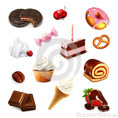 Free Confectionery, Vector Set Royalty Free Stock Photo - 57245615