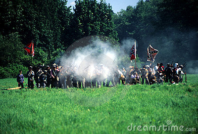Confederate infantry fire their guns Editorial Photo