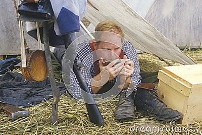 Confederate participant in camp scene Editorial Photo