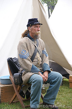 Confederate sergeant waits by his tent Editorial Photo