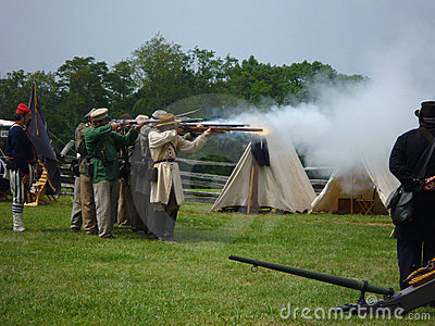 Confederate Soldiers Firing Their Muskets Editorial Photo