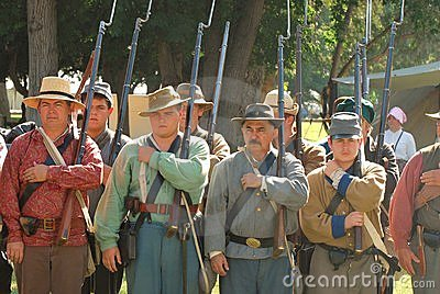Confederate soldiers stand in review II Editorial Image