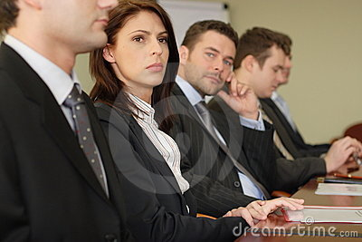 Conference five businesspeople