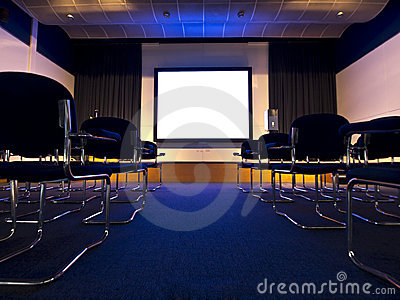 Conference hall movie presentation