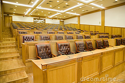 Conference halls with armchairs and tables