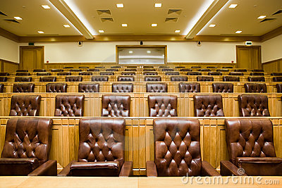 Conference halls with leather armchairs and tables