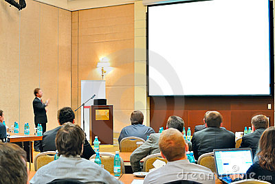 Conference, presentation in auditorium