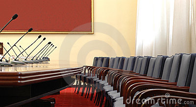 Conference room with microphones