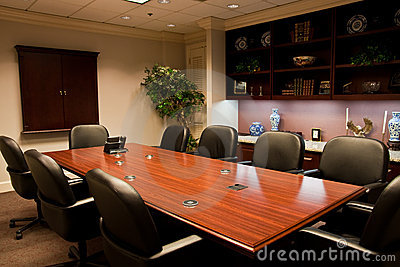 Conference Table with Counter and Bookshelves