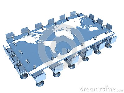 Conference table with world map