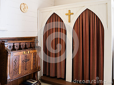 Confessional at historic chapel