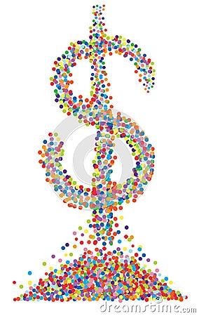 Confetti dollar symbol