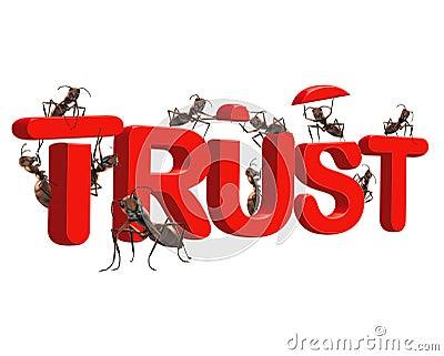 A confiança do edifício esteja confiável na honestidade da qualidade
