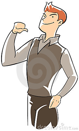 Confidence executive pointing himself with thumb