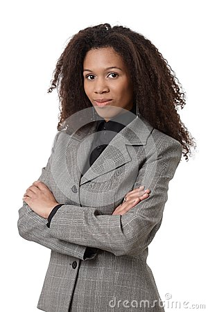 Confident afro businesswoman in suit