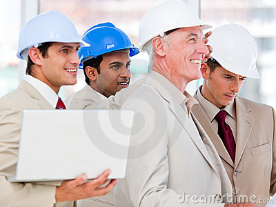 Confident architects looking at something