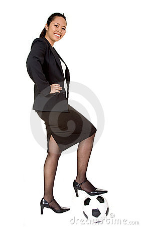 Confident asian business woman with football