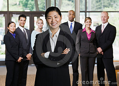 Confident Asian businesswoman posing