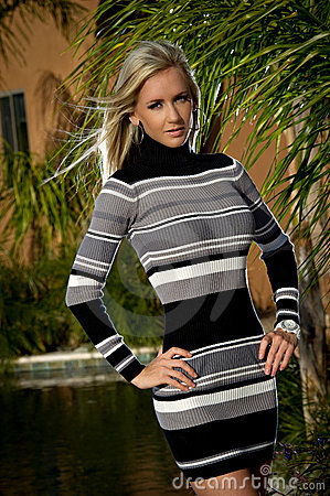 Confident Beauty in a sweater dress