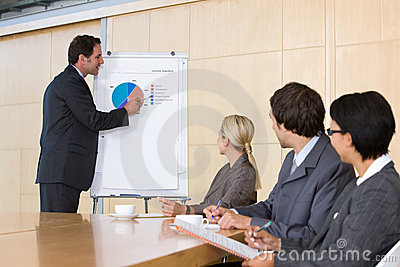 Confident business man giving presentation to coll