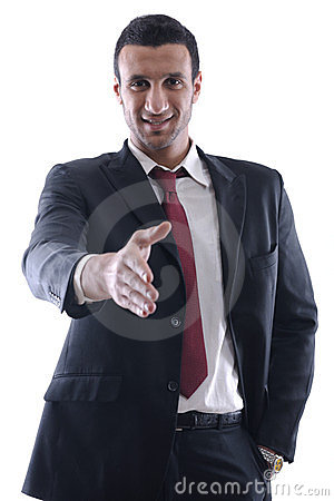 Confident business man giving you a hand shake
