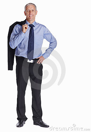 Confident business man holding coat over shoulders