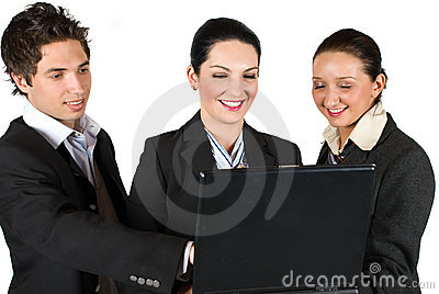 Confident business people with laptop