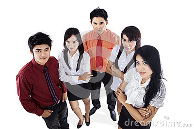 Confident business team isolated