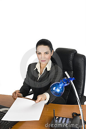 Confident business woman give a blank page