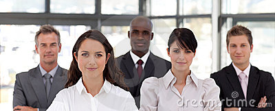 Confident Business woman leading a team