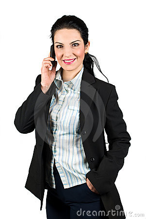 Confident business woman with mobile phone