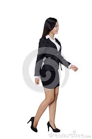 Free Confident Business Woman Standing Full Length In Black Suit. Royalty Free Stock Photography - 34761437