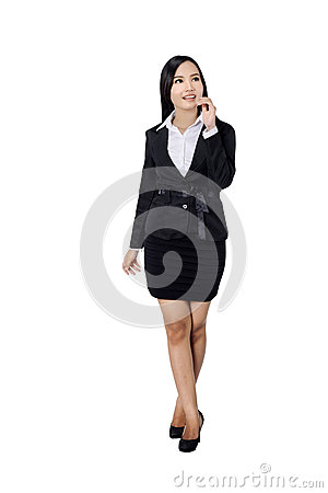Free Confident Business Woman Standing Full Length In Black Suit. Stock Photo - 34762670