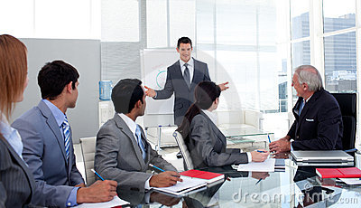 Confident businessman giving a presentation