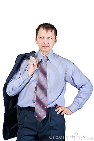 Confident businessman holding his jacket