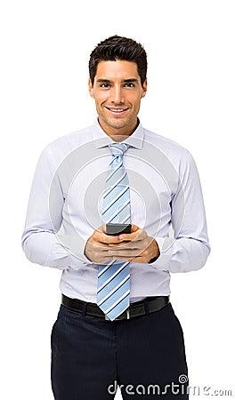 Free Confident Businessman Holding Smart Phone Stock Photos - 39365833