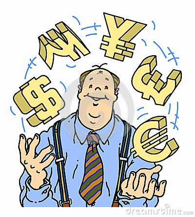 Confident businessman juggling currency symbols