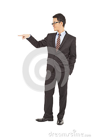 Confident businessman raise hand to point