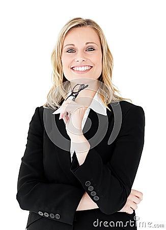 Free Confident Businesswoman Holding Glasses Smiling Stock Photos - 15518743