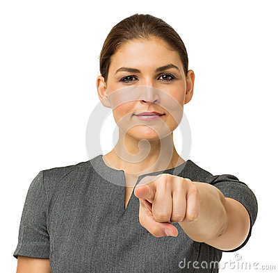 Confident Businesswoman Pointing At You
