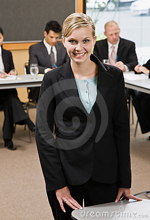 Confident businesswoman preparing for presentation