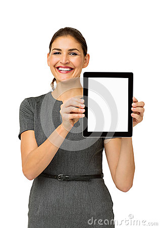 Confident Businesswoman Showing Digital Tablet