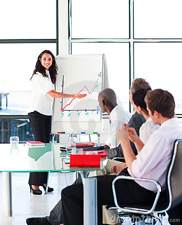 Free Confident Businesswoman Smiling In A Presentation Royalty Free Stock Photos - 9618988