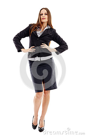 Confident businesswoman on white background