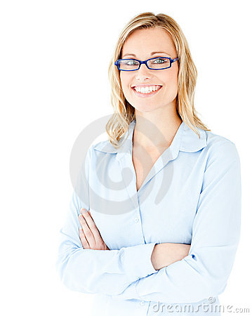 Free Confident Businesswoman With Folded Arms Smiling Royalty Free Stock Photo - 15616045